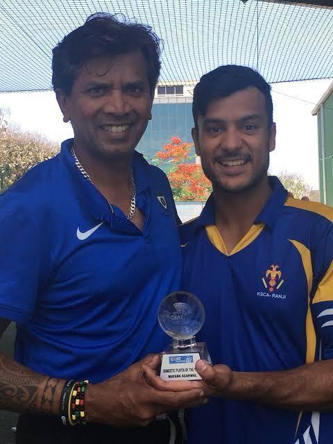 Coach R X Muralidhar with Mayank Agarwal