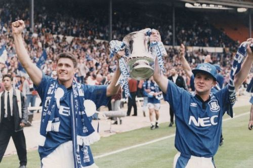 Goal-scorer Paul Rideout and Graham Stuart celebrate winning the FA Cup in 1995 against Manchester United