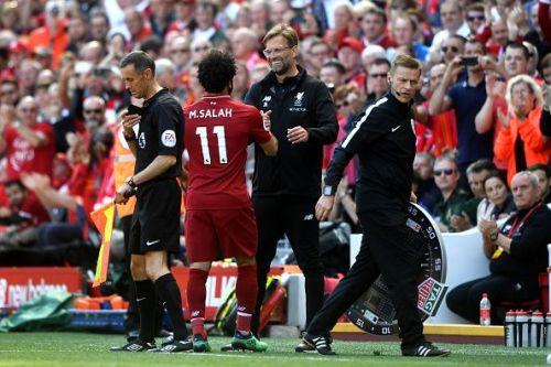 Mohamed Salah with Liverpool manager Jurgen Klopp