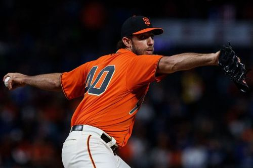 Madison Bumgarner in action during the Los Angeles Dodgers v San Francisco Giants game