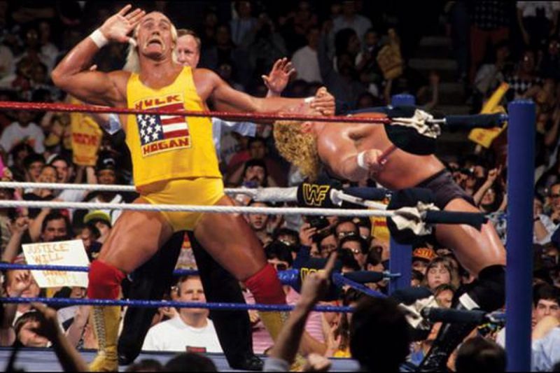 Hulk Hogan appeals to the crowd while he literally has Sid Vicious on the ropes