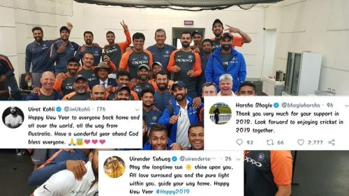 Cricketers new year tweets