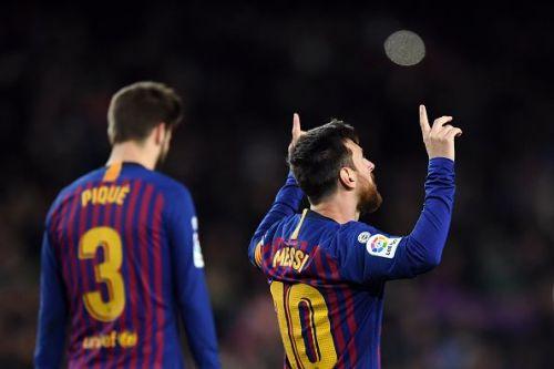 Messi celebrates his goal against SD Eibar