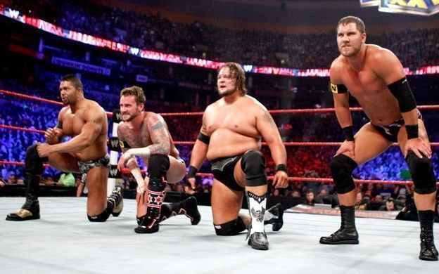 Michael McGillicutty with the other members of the New Nexus at the 2011 Royal Rumble