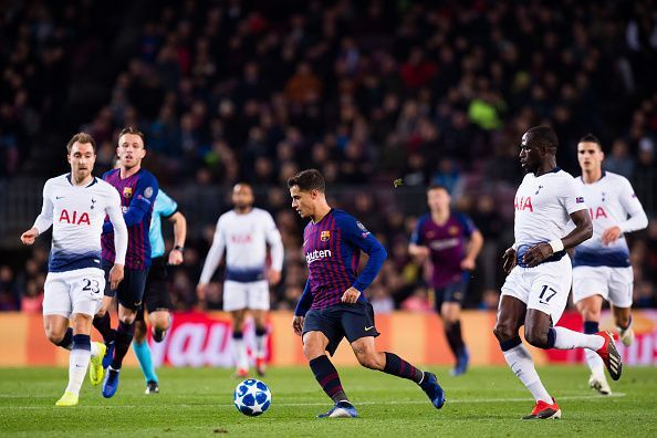 Coutinho in action for Barcelona against Tottenham Hotspur