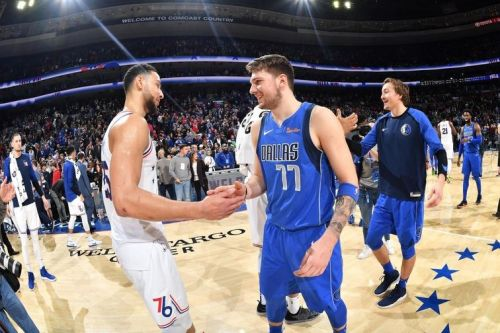 Ben Simmons and Luka Doncic after the match