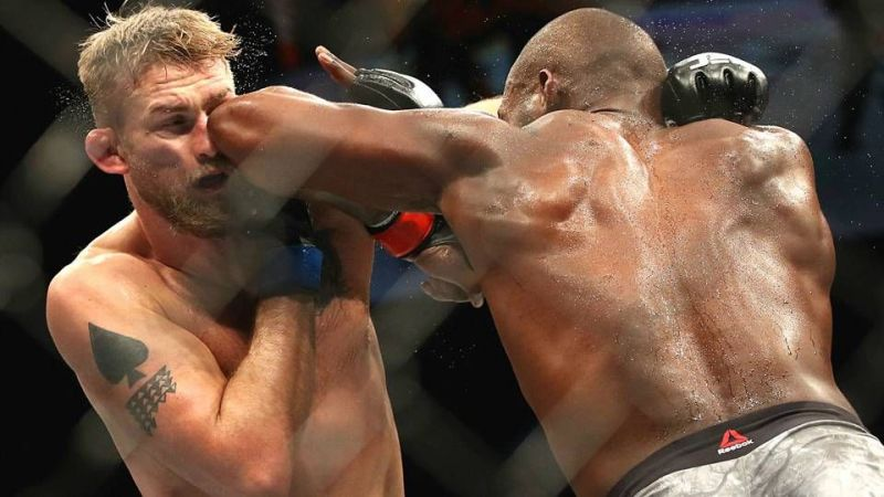 Jon Jones catching Alexander Gustafsson with a piercing elbow during their championship fight at UFC 232
