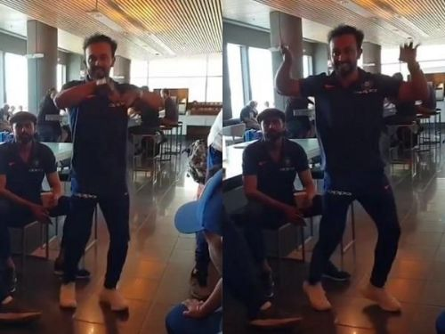 Kedar Jadhav showing off his dance moves