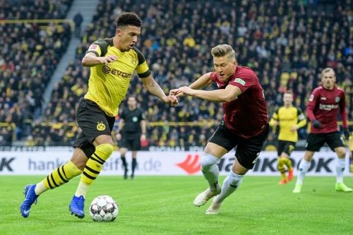Borussia Dortmund's Jadon Sancho made the £8million switch from Manchester City in 2017