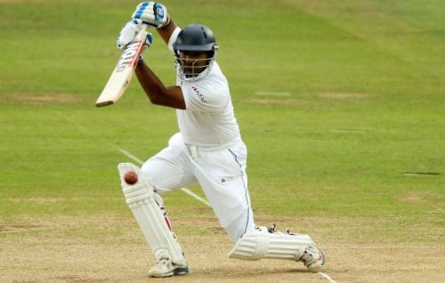 Kumar Sangakkara with his trademark cover drive
