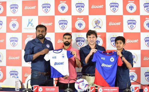 (From left) Bengaluru FC Head of Operations Srinivas Murthy, First Team Player Kean Lewis, Coach Carles Cuadrat and U13 Player Gautam Rajesh