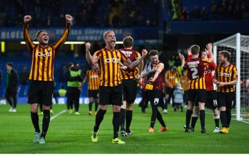 Bradford City rejoice after defeating Chelsea in 2015