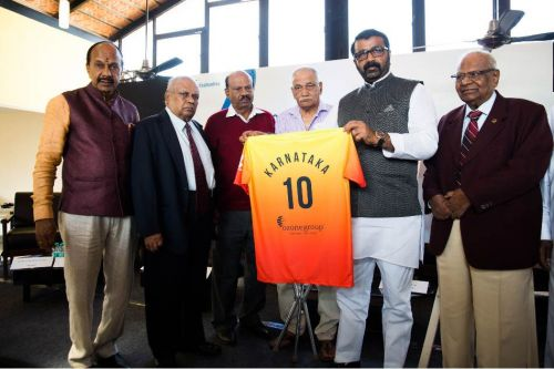 NA Haris (second from right), president of the Karnataka State Football Association with KSFA and BDFA governing body members