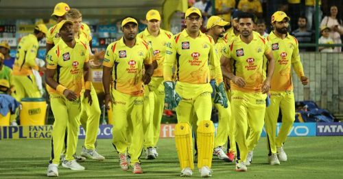 Chennai Super Kings players stride out for a match