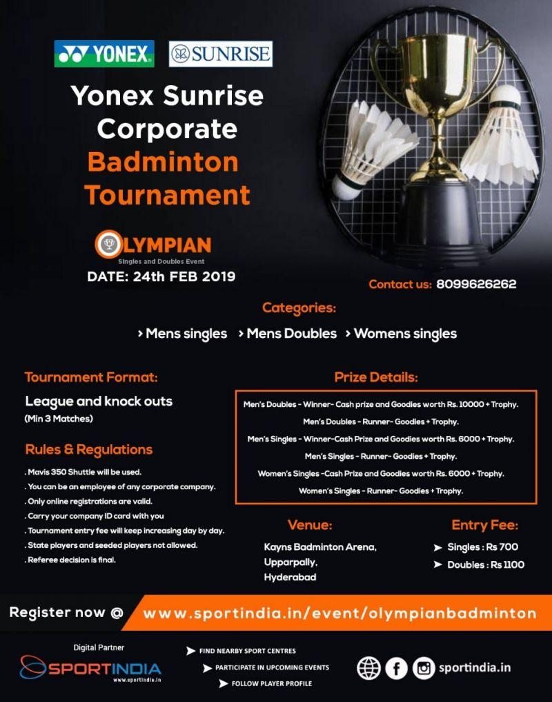 Yonex Sunrise Corporate Badminton Tournament (Event Details)