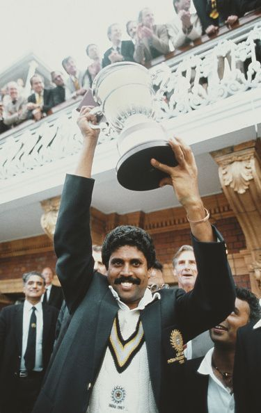 India Captain Kapil Dev holds aloft the 1983 World Cup