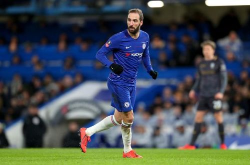 CNew signing Gonzalo Higuain in action for Chelsea