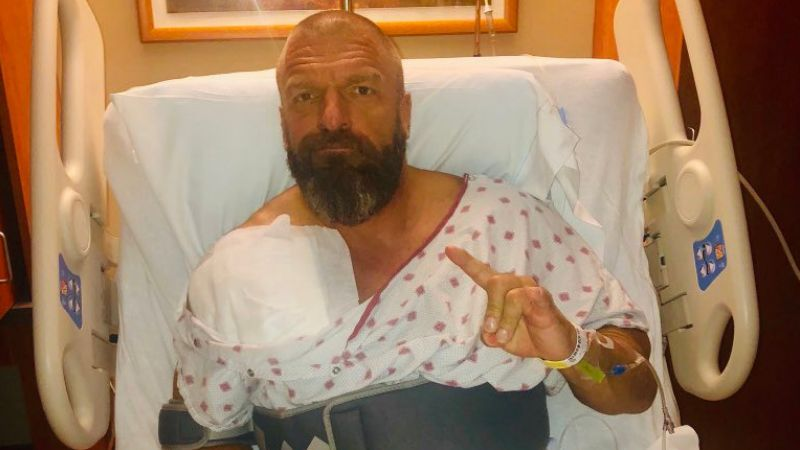 Triple H, after being operated upon, following an injury to his shoulder