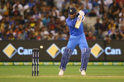 MS Dhoni guides the ball square in the third One Day International