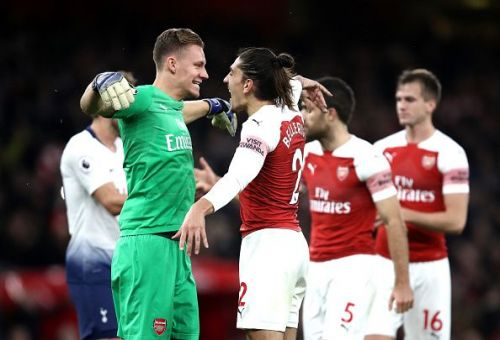 Bernd Leno with Hector Bellerin during the Tottenham game.