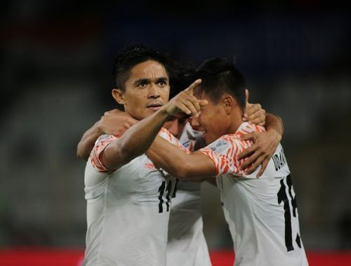 Sunil Chhetri of India celebrates after scoring a goal against Thailand during the Asian Cup (Image: AIFF Media)