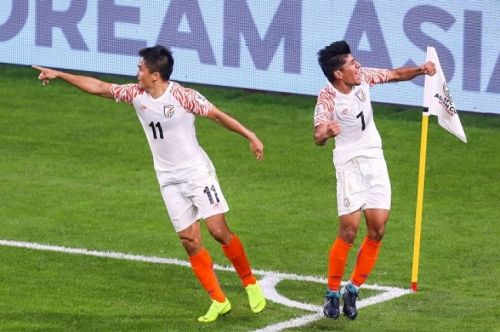 India's Sunil Chhetri (left) and Anirudh Thapa during the Asian Cup game against Thailand