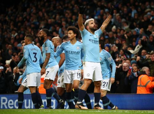 Manchester City vs Liverpool: City celebrates after Aguero opened the scoring the 40th minute