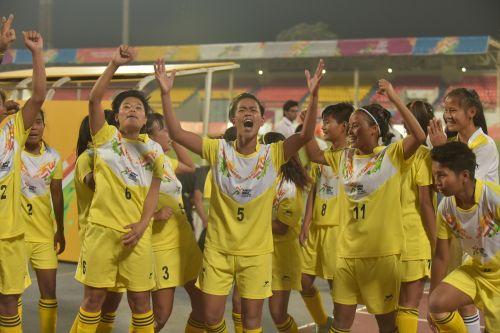 U-21 Girls winners Manipur girls celebrating their win over Tamil Nadu at Khelo India Youth Games