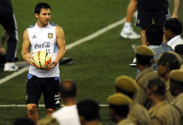 Lionel Messi during a training session in Kolkata