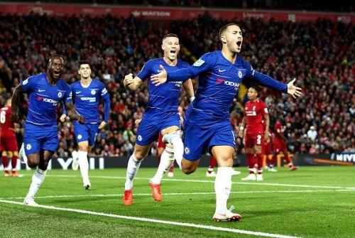 Eden Hazard celebrates after scoring against Liverpool