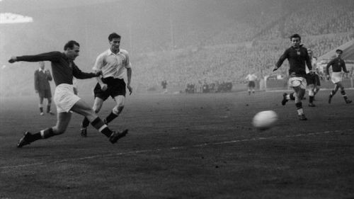 Nandor Hidegkuti scores in the 6-3 win over England at Wembley. He featured as a deep-lying striker in the game
