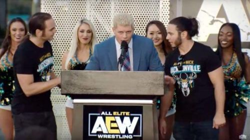 Cody Rhodes and the Young Bucks at a press conference.