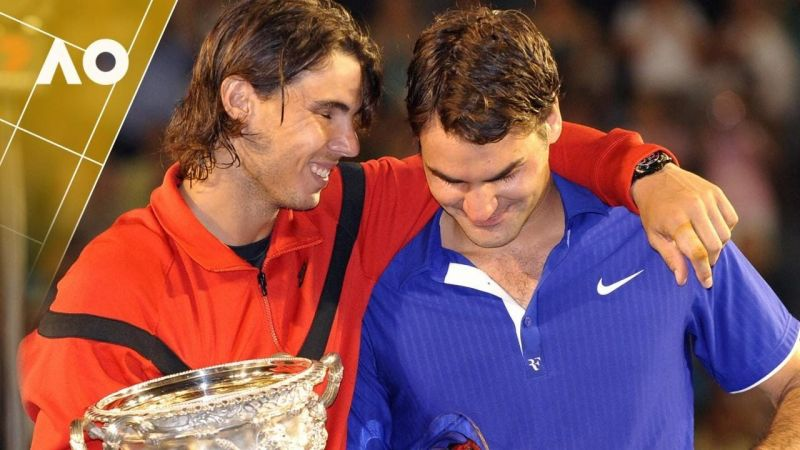 Nadal and Federer at the 2009 Australian Open final
