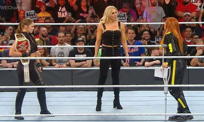 Ronda Rousey, Charlotte Flair and Becky Lynch at Elimination Chamber