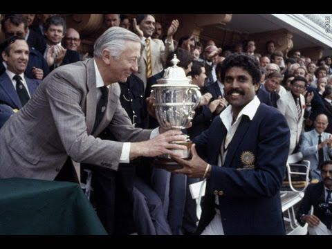 Kapil Dev with the World Cup trophy after India defeated the Windies in 1983
