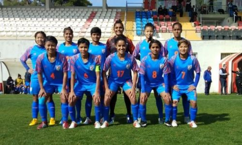 The Starting XI of the Indian women football's team against Uzbekistan
