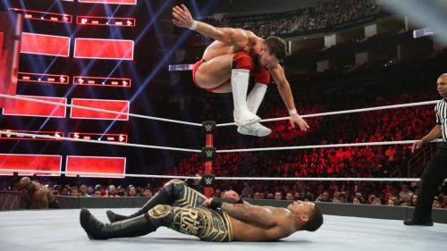 Finn Balor hits the Coup de Grace on Lio Rush