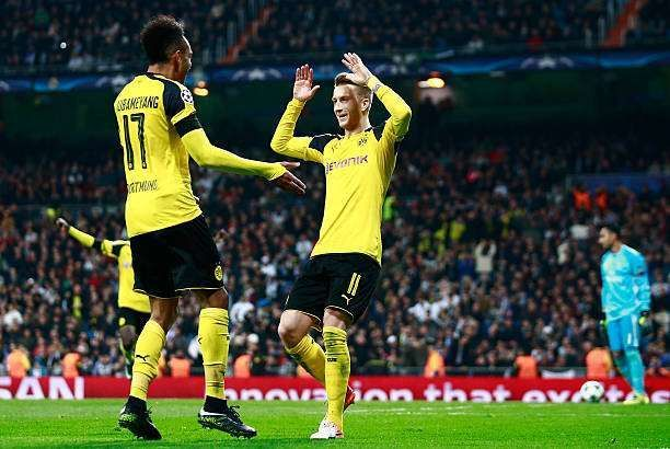 Marco Reus with Aubameyang