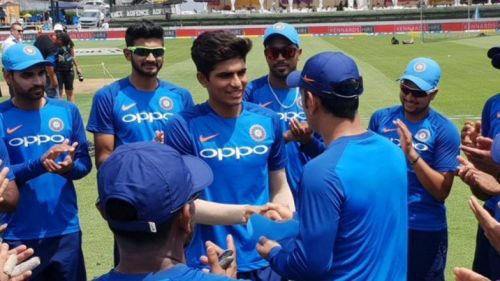 Shubman Gill receiving his cap from former Indian skipper MS Dhoni