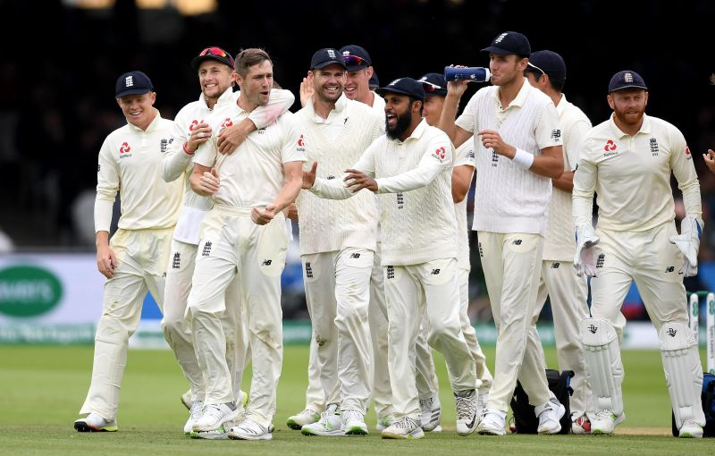 England team during the Lords Test against India