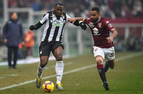 Kofi Djidji (right) in action against Udinese last week, is the visitors' only injury concern