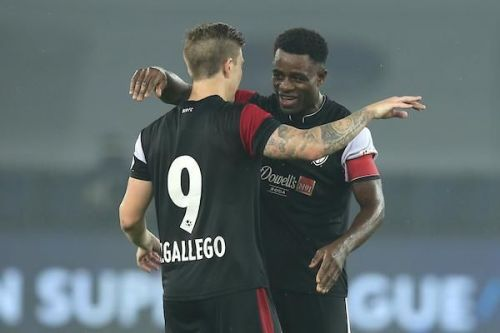 Captain Bartholomew Ogbeche and Federico Gallego of NEUFC