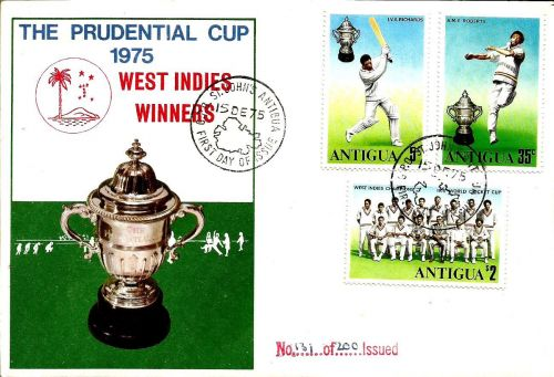 Stamps issued by Antigua to commemorate West Indies' victory in 1975 World Cup