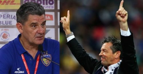 Chennaiyin FC coach John Gregory (left) and FC Pune City boss Phil Brown