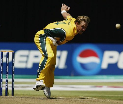 Andy Bichel of Australia in action