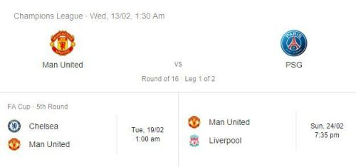 Upcoming Fixtures for United