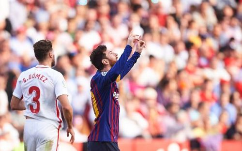 Lionel Messi struck a magnificent volley to equalize with Sevilla in the first half