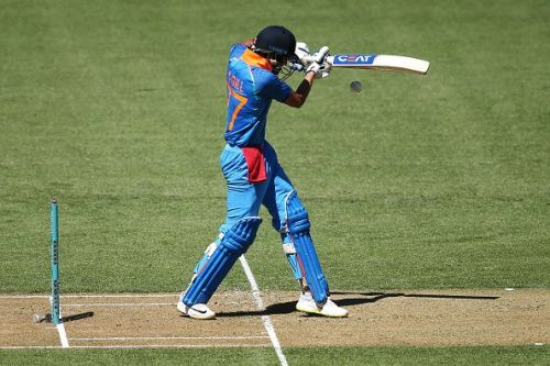 Shubman Gill taking on New Zealand's pace attack