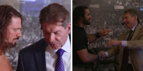 The WWE boss seen backstage with Styles and Rollins.