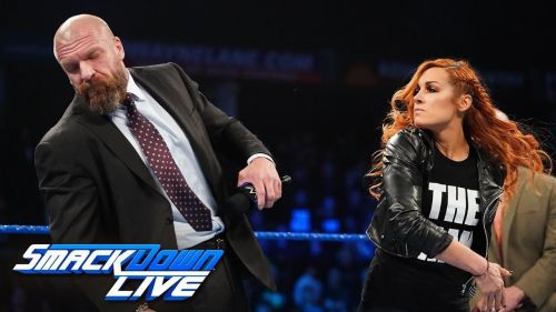 The Man slapped Triple H on the latest SmackDown Live.